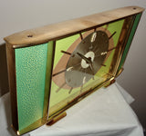 Vintage METAMEC Atomic Eye Shelf/Mantle Clock In Brass With Green Crackle Glaze Finish