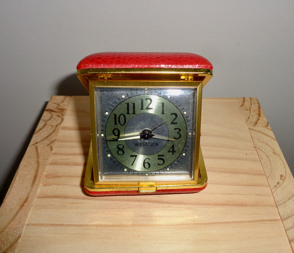 1977 Westclox Red Folding Travel Alarm Clock