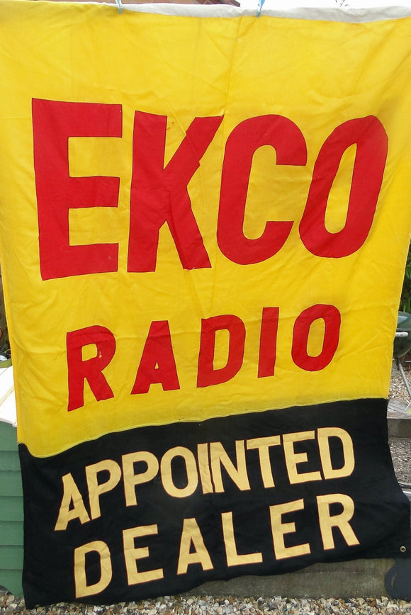 Large Cotton 1950s Ekco Radio Appointed Dealer Radiolympia Exhibition Banner