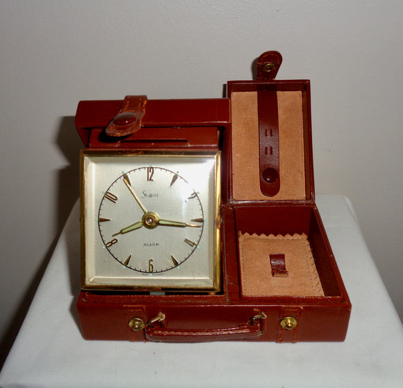 Vintage Swiza Sheffield Alarm Clock Shaped Like A Leather Suitcase