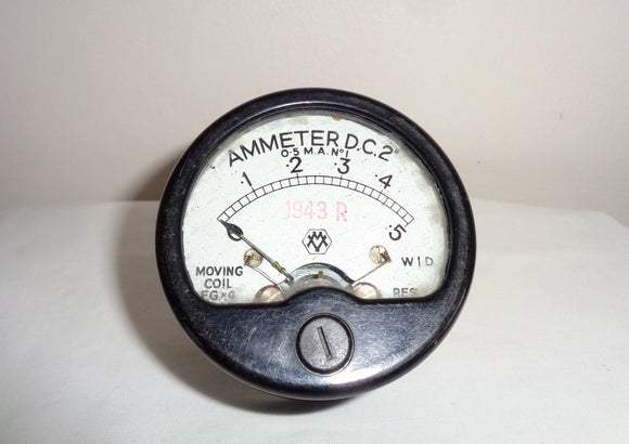 1943 WW2 War Department Moving Coil 0.5 Milliamp Ammeter For Wireless Set 22 WS22