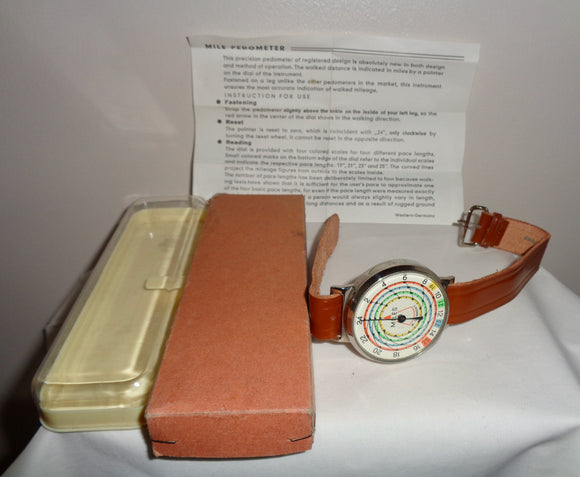 1960s Mechanical West German Ankle Pedometer In Original Box
