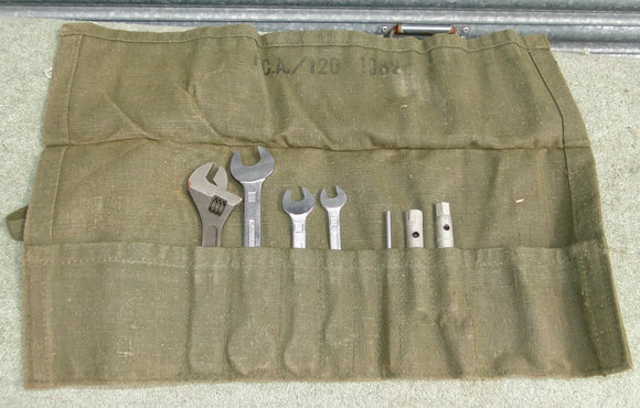 Vintage Military Landrover Canvas Tool Roll With Tools
