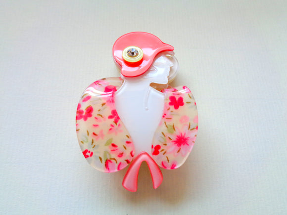 Modern Lucite Art Deco Lady Brooch Peachy Pink