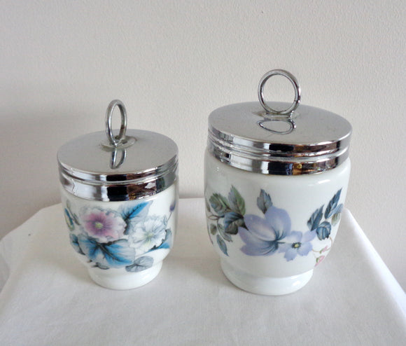 Pair of Vintage Royal Worcester Egg Coddlers: King Size June Garland And Standard Size Woodland