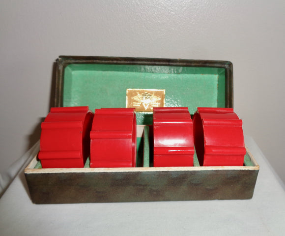 Vintage Set Of Four Boxed Velos Red Bakelite Napkin Rings