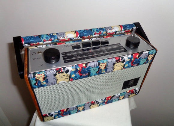 R757 Roberts Portable 1990s Radio Recovered with Cat Themed fabric