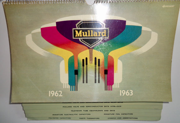 1962 to 1963 Mullard Wall Hanging Data Catalogue For Valves / Semiconductors / Capacitors