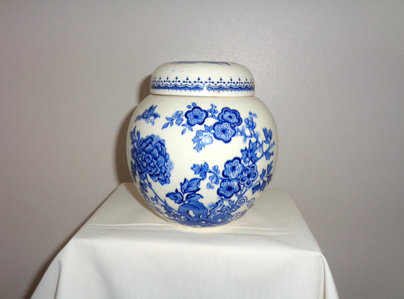 Vintage Masons Manchu Blue Ironstone Ginger Jar