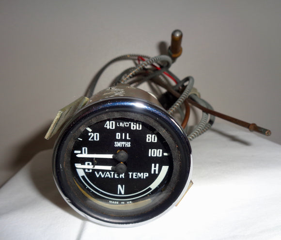 1960s Smiths Industries Dual Oil And Temperature Gauge GD 1307/1 With Fittings For A MG Midget