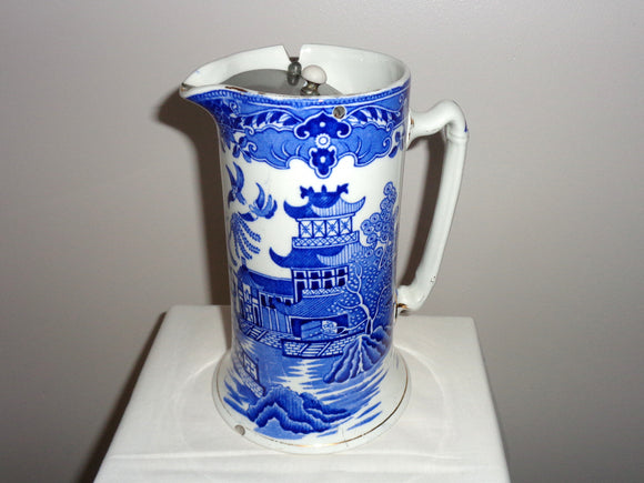 1930s Burgess & Leigh Burleighware Willow Hot Water Pitcher