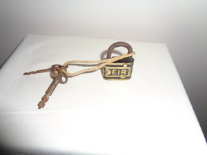 Antique Eagle Lock Company Tetraskelion Padlock & Key