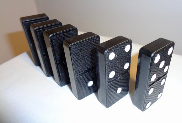 1960s Boxed Ansells Imperial Size Set of 28 Dominoes In Black Crystalate