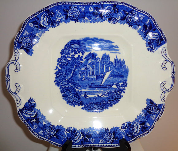 Vintage Wedgwood China Landscape Blue Rose Bread & Butter Plate