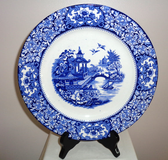 Pair of 1930s Swinnertons Olde Alton Ware Japanese Garden Dinner Plates