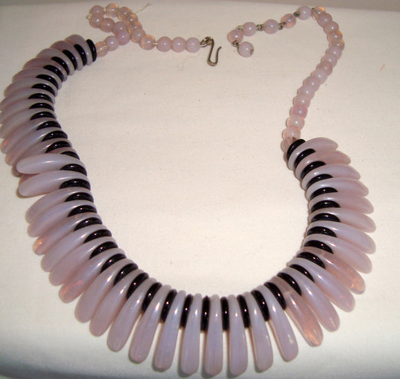1950s West German Pink and Black Glass bead necklace