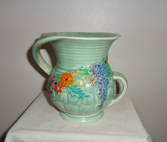 1930s Carlton Ware Rock Garden Ribbed Two-handled Jug Pattern 1244