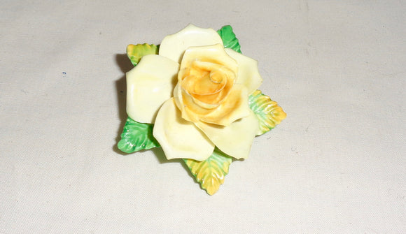 1950s Yellow Rose Coalport Pottery Brooch By D Simmill