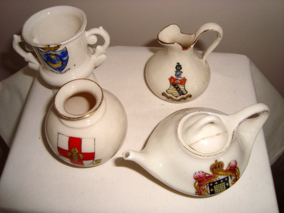 Four Pieces Vintage Souvenir Armorial Pottery Crested China