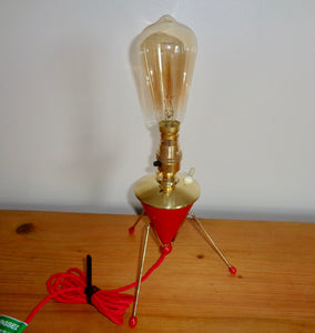 1950s Atomic Age Red Plastic & Brass Small Table Lamp