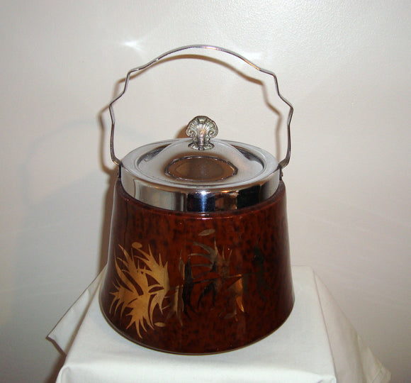 Antique Gibson's England Brown Lustreware/Chrome Tea Caddy