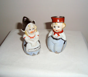 Vintage Ceramic Dutch Girl/ Boy Salt & Pepper Pots/ Shakers