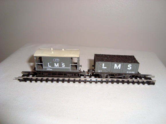 Two Vintage Peco N-Gauge LMS Wagons 1875 and 313159
