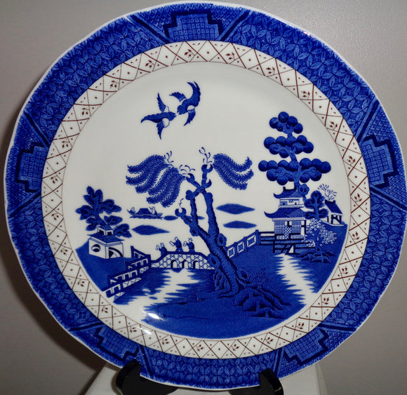Set of Three Royal Doulton Dinner Plates Based On Booths Real Old Willow Majestic Collection