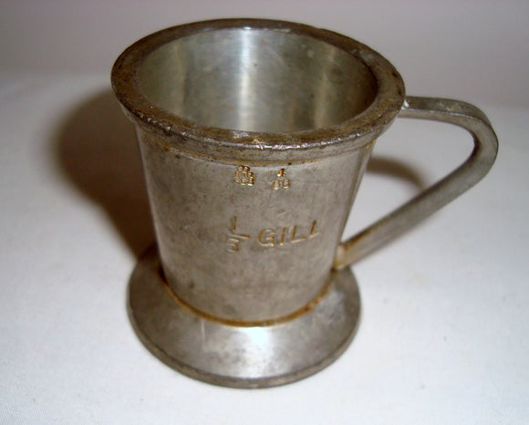 1960s Gaskell & Chambers Pewter 1/5 Gill Drinks Measure