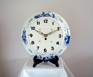 Vintage 1950s Blue and White Delft style Pottery Wall Clock