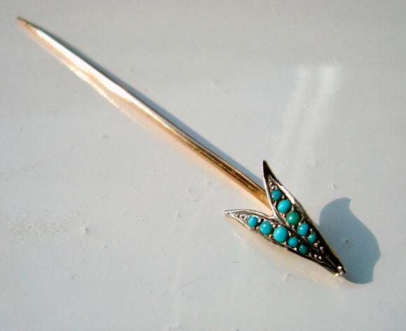 Antique Arrow Head Stick Pin With A Turquoise Setting