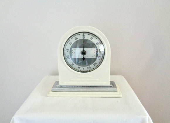 1930s Thermodial White Bakelite Bimetallic Thermometer