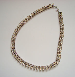 Vintage Diamanté Necklace Two Row 15 Inch
