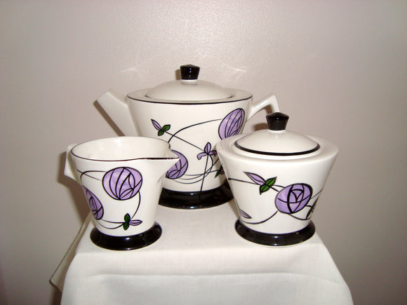Brian Wood Art Pottery Hand painted Madison Teapot and Sugar Bowl
