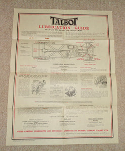 1930s Talbot 105 Classic Car Castrol Oil Lubrication Chart In An Envelope