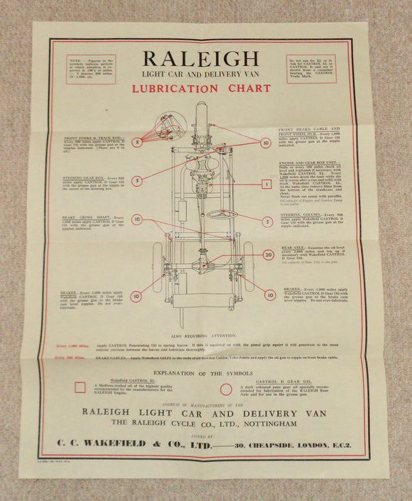 1930s Raleigh Light Car Castrol Oil Lubrication Chart In An Envelope