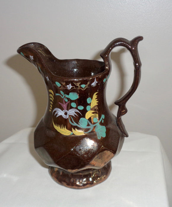 Antique Small Copper Lustre Staffordshire Pottery Jug/Creamer