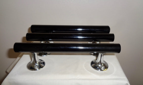 Three Black Plastic & Chrome Vintage Cupboard/Drawer Handles