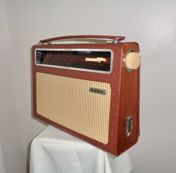 Vintage Bush Radio Model TR112 Recovered in Brown Leather