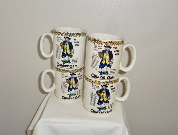 Set Of Four Quaker Oats (Porridge Oats) 1970s Advertising Mugs