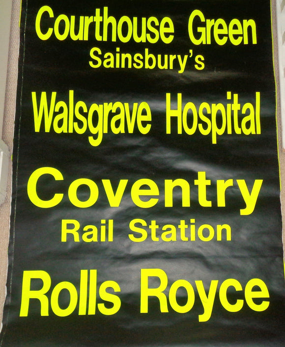 Vintage Bus Destination Blind West Midlands Coventry Transport