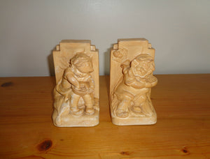 Pair Of Vintage Bretby Art Pottery Nursery Rhyme Bookends Models 3262 and 3263