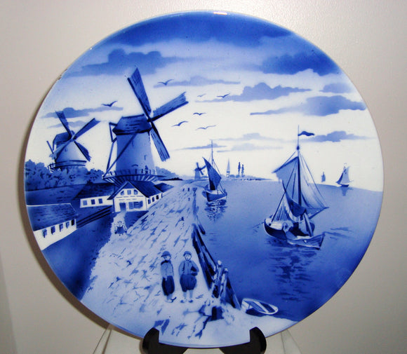 Vintage German Delftware With Windmill Scene 30cm 12 Inch Plate
