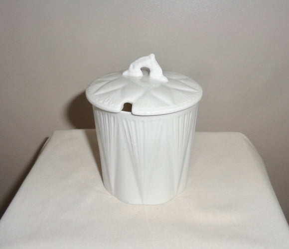 1930s Shelley Dainty White Pottery Preserve Pot