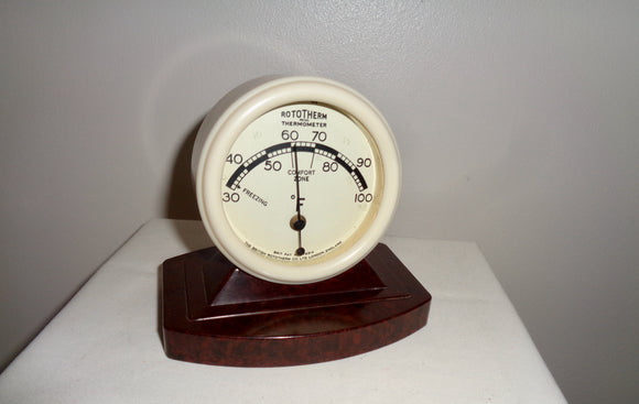 1930s Brown & White Bakelite Rototherm Thermometer