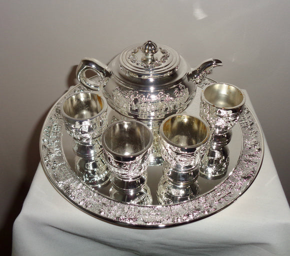 Egyptian Mini Silver Plated Teapot & Four Mini Cups