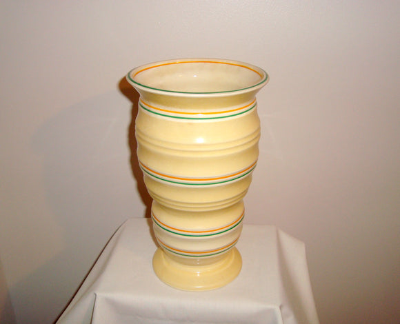 1940s Burgess & Leigh Burleigh Ware 114 Yellow Annulus vase