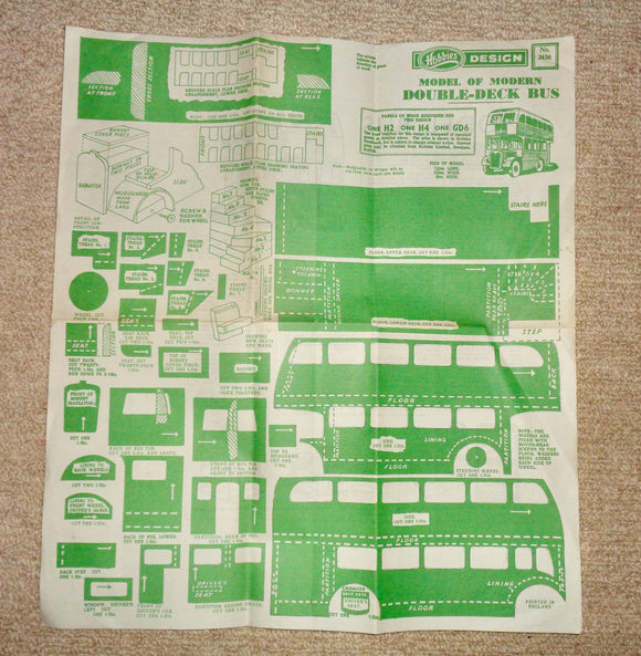 1940s Hobbies Model Pattern no.2638 For A Wooden Double-Deck Bus