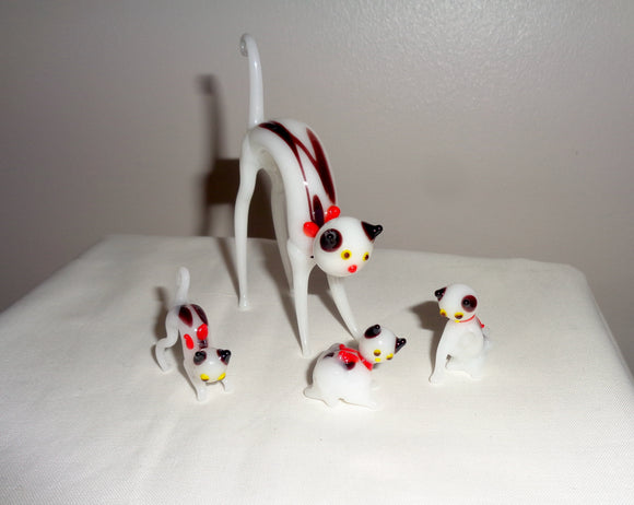 1960s Murano Blown Glass Cat with Three Kittens
