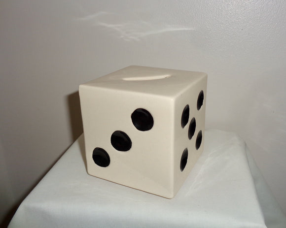 1980s R Moss Ltd Die (Dice) Ceramic Cubic Money Box 1027